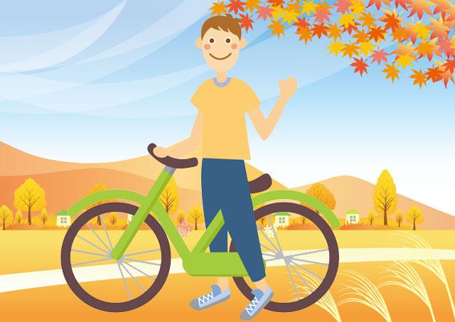 自転車と秋の空